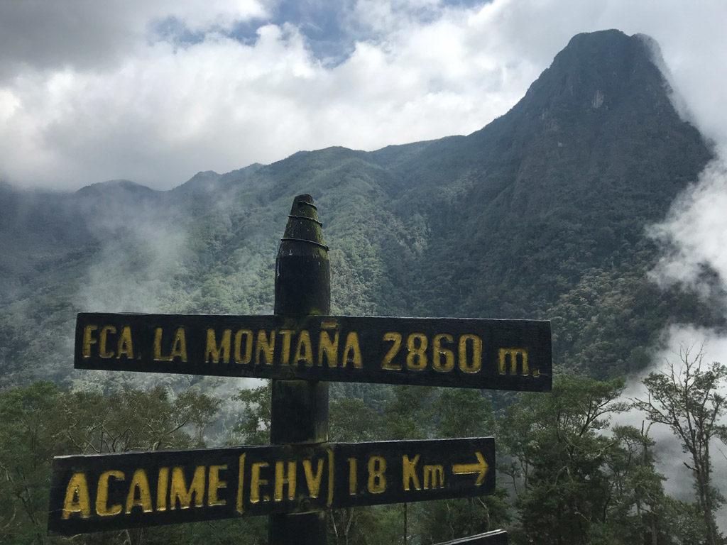 Panneau Finca las Montañas dans la Vallée de Cocora